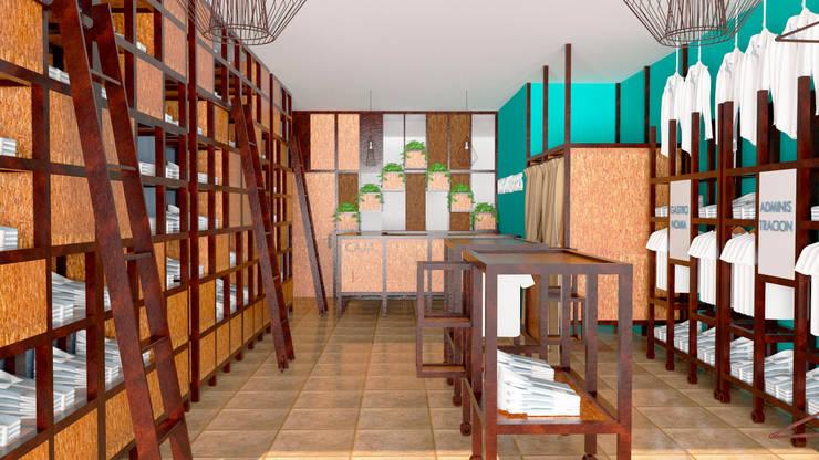 Vista del local hacia el mostrador: Oficinas y locales comerciales de estilo  por Arq. Melisa Cavallo,