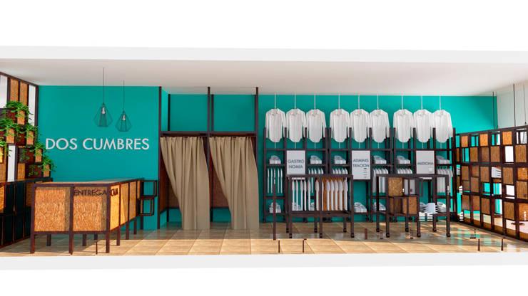 Vista del sector probadores y exhibidores : Oficinas y locales comerciales de estilo  por Arq. Melisa Cavallo,