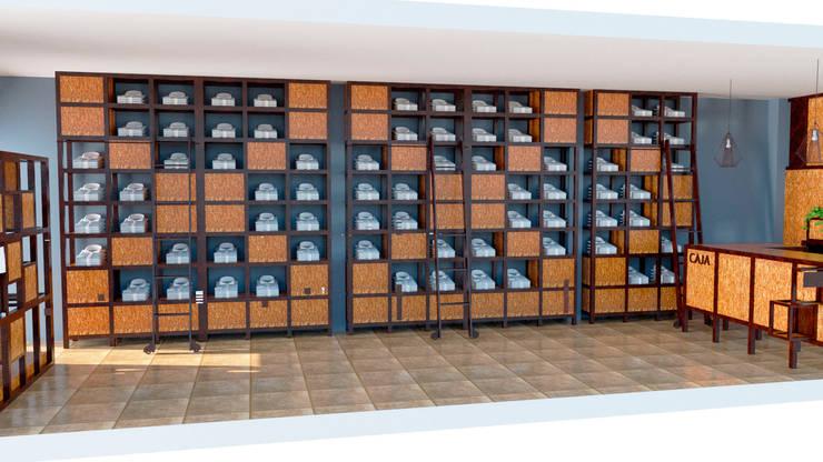 Vista de los muebles de guardado de ropa: Oficinas y locales comerciales de estilo  por Arq. Melisa Cavallo,