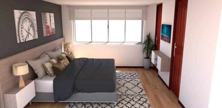 habitacion hombre : Habitaciones pequeñas de estilo  por Naromi  Design