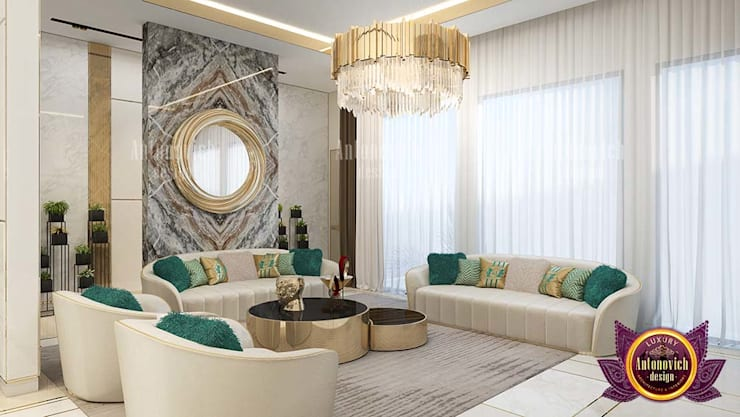 Outstanding Green and Gold Interior Design:   by Luxury Antonovich Design