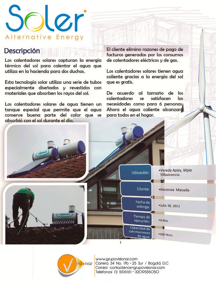 CALENTADORES SOLARES: Casas ecológicas de estilo  por SOLER Alternative Energy,