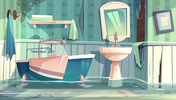 Top 5 tips to Avoid Water Damage on Your Property:  Bathroom by Smth Co