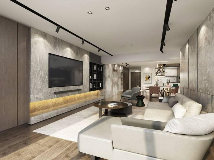 Living room by 台中室內設計-築采設計