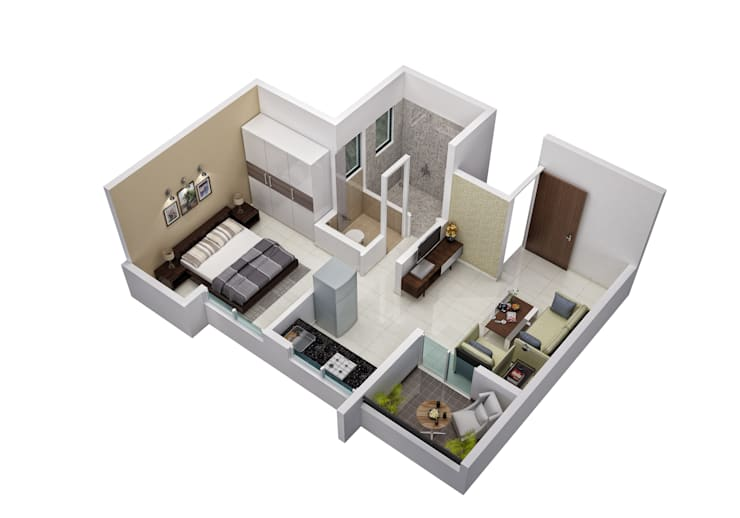 1 BHK:  Floors by Space Alchemists