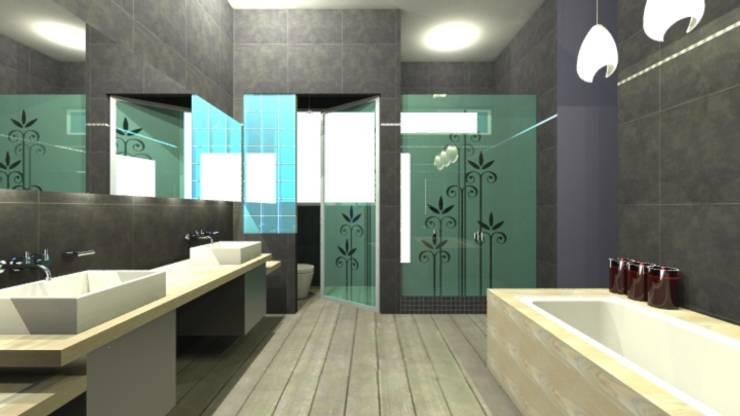 Waterfall House:  Bathroom by Bun Interior Design, Modern