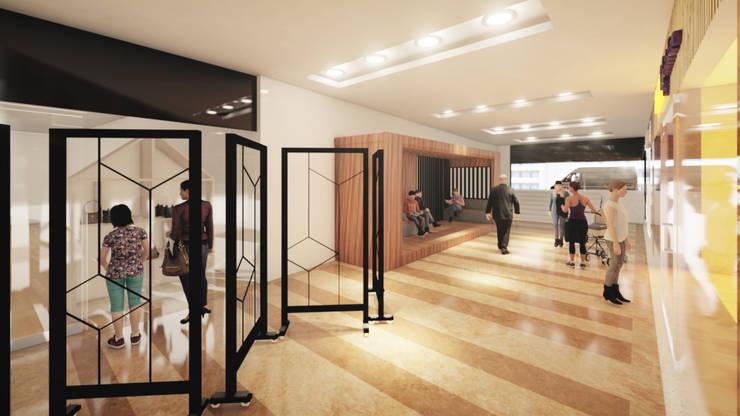 DISEÑO GALERIA Y MODULO CHARGING HALL CENTRO COMERCIAL USAQUEN : Vestíbulos, pasillos y escaleras de estilo  por Gallo Rosa S.A.S,