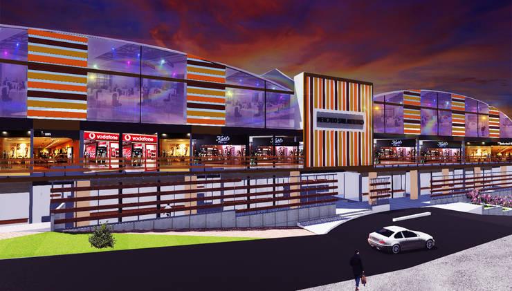 Vista lateral: Oficinas y Tiendas de estilo  por VyMarquitectos