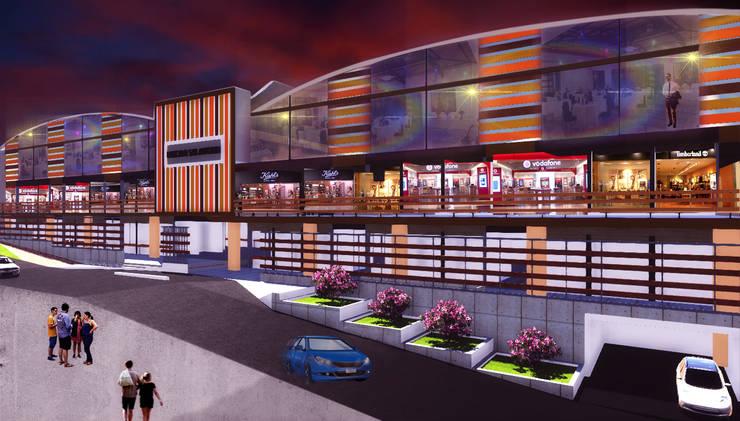 vistal lateral: Oficinas y Tiendas de estilo  por VyMarquitectos