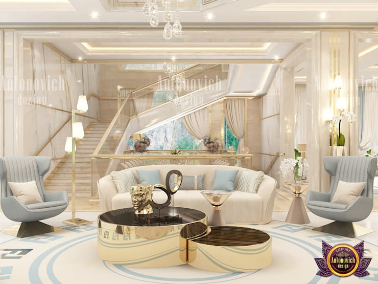 Living Room Interior By Famous Female Designer:   by Luxury Antonovich Design