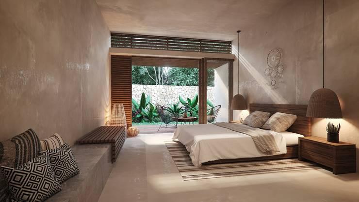 Bedroom by Construcciones del Carmen, Tropical