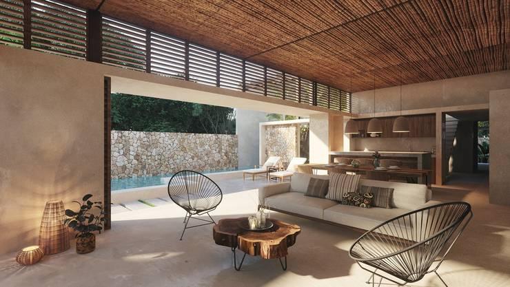 Living room by Construcciones del Carmen, Tropical