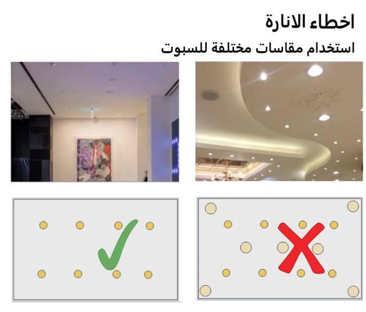 الأخطاء الشائعة في توزيع الكهرباء ( الإسبوتات ) مع كاسل للديكور والتشطيبات المعمارية بالقاهرة:   تنفيذ كاسل للإستشارات الهندسية وأعمال الديكور في القاهرة