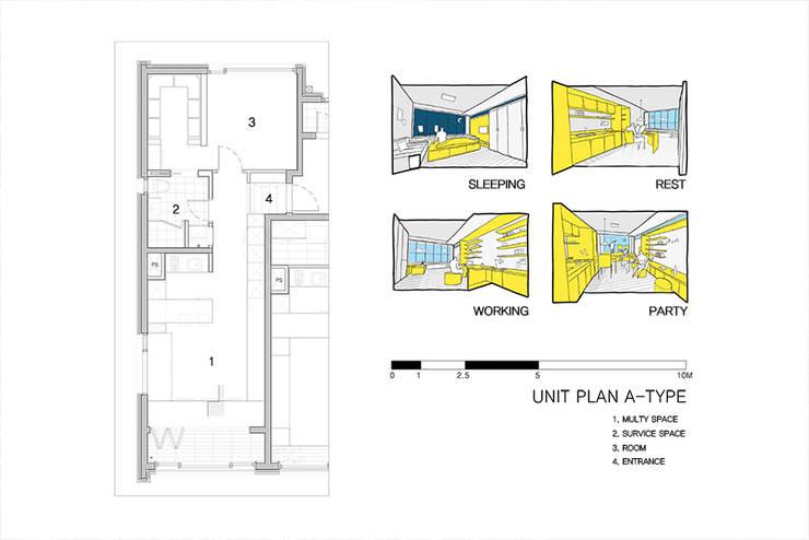 양재동 POP-UP HOUSE: 스튜디오메조 건축사사무소의  거실,