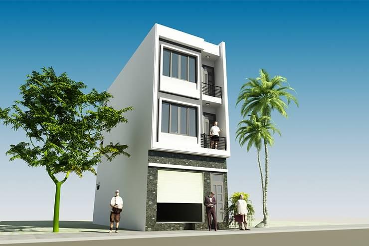 Thiết kế nhà phố 3 tầng mặt tiền 5m tại Long Biên:  Biệt thự by CÔNG TY CỔ PHẦN XD&TM KIẾN TẠO VIỆT