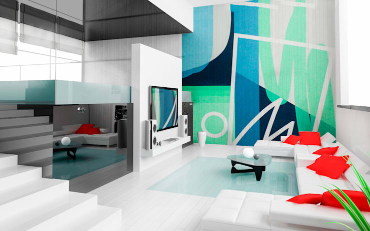 Mural para family room: Salas de estilo  por Arca México