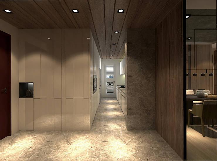 玄關與廚房相連:  走廊 & 玄關 by 青易國際設計