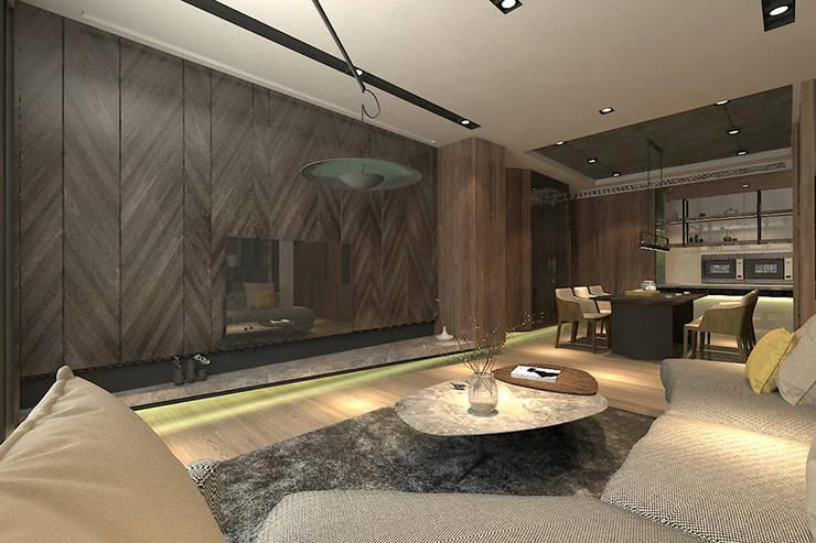 開放式客廳與餐廳相連:  客廳 by 青易國際設計