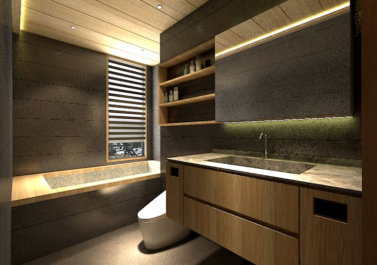 主衛:  浴室 by 青易國際設計
