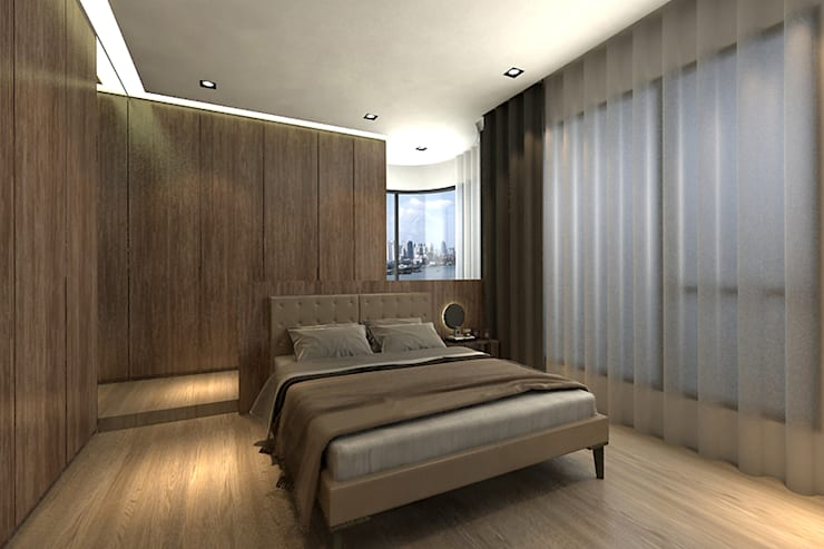 主臥房:  臥室 by 青易國際設計