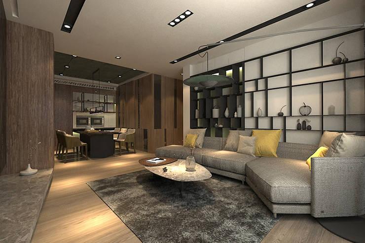 客廳另一視角:  客廳 by 青易國際設計