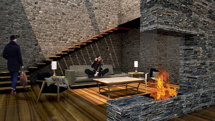 Salas / recibidores de estilo  por AR Arquitectura y Diseño, Rústico Piedra