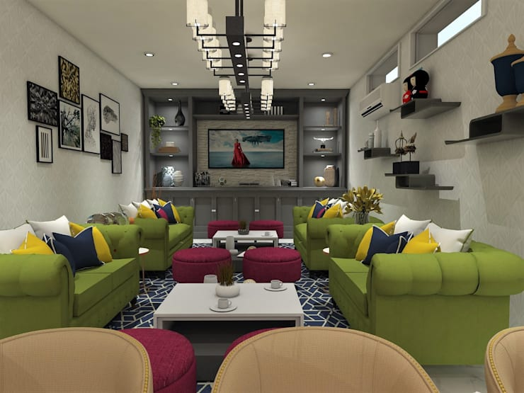 Basement Lounge and Bar Area:  Living room by TheMistris