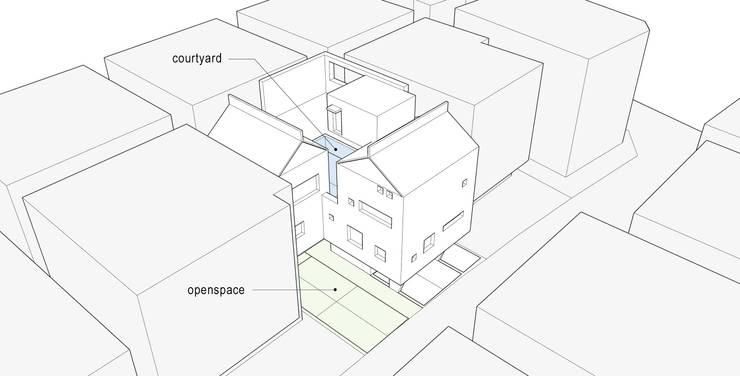 내외부 열린공간을 중심으로한 공간구성: SPACEPRIME ARCHITECTURE의  다가구 주택,