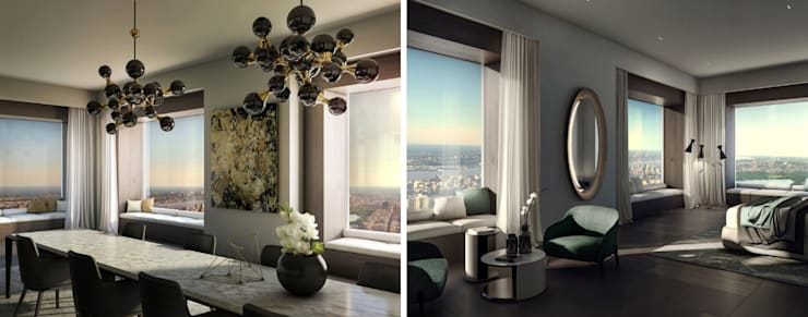 Molteni & C Furnished Penthouse, Nova Iorque by DelightFULL Eclectic Copper/Bronze/Brass
