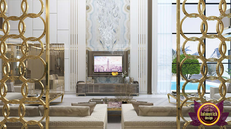 Sophisticated Huge Luxury Lounge Room:   by Luxury Antonovich Design