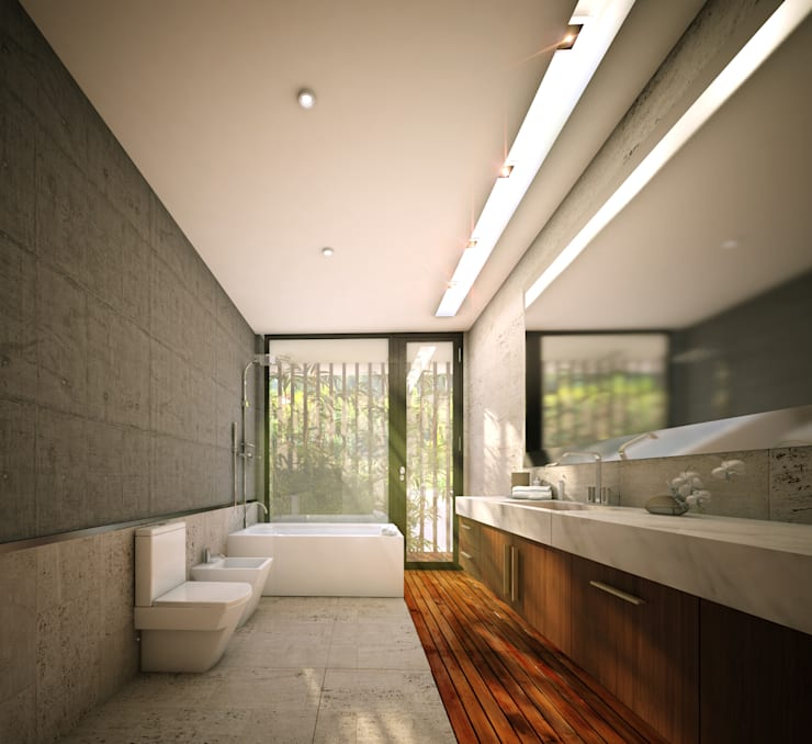 A&R House: Baños de estilo  por BK KREATIVE BUILDINGS,
