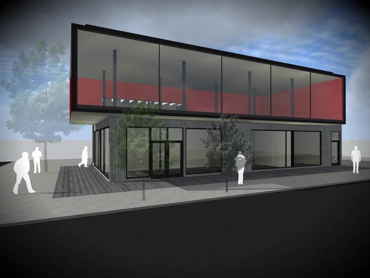 Locales Comerciales 3D (40m2 - 130m2):  de estilo  por Vicente Espinoza M. - Arquitecto