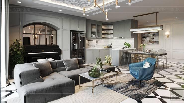 Phong cách Art Deco và New York Style kết hợp trong thiết kế nội thất căn hộ Vinhomes Golden River:  Phòng khách by ICON INTERIOR