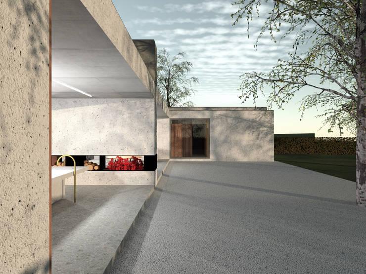 160_Casa Singola: Balcone, Veranda & Terrazzo in stile  di MIDE architetti