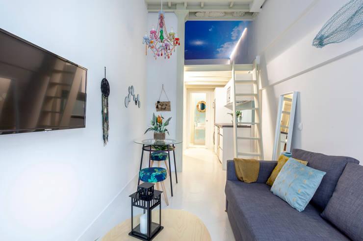 Salon original par Estudio Mercedes Arce Éclectique Tuiles