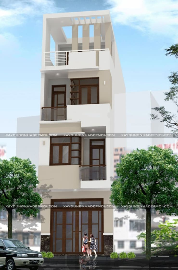 Mẫu thiết kế nhà ống lệch tầng 4x15m đẹp hiện đại:   by Công ty xây dựng nhà đẹp mới