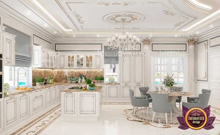 Royal Luxury Kitchen and Dining Area:   by Luxury Antonovich Design