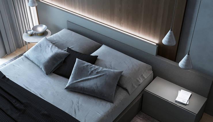 Квартира в ЖК <q>Резиденции Композиторов</q>: Спальни в . Автор – Yurov Interiors, Минимализм
