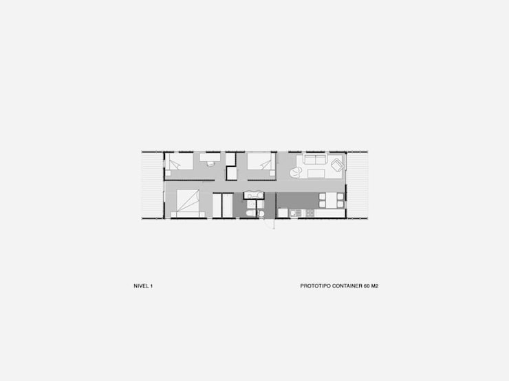 Casa Container 60 m2:  de estilo  por Fabrica ARQ