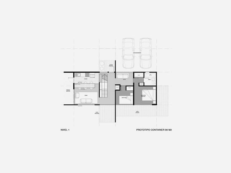 Casa Container 90 m2:  de estilo  por Fabrica ARQ