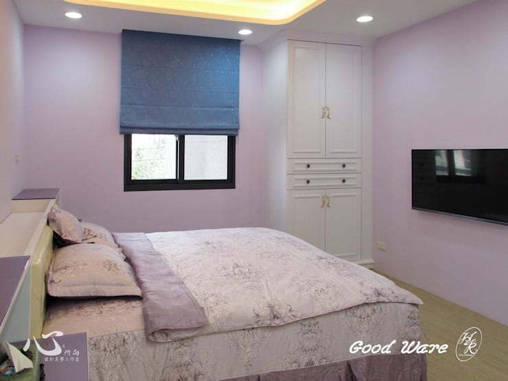 2樓孝親房-紫色的調性,柔和浪漫:  臥室 by 台中室內設計裝修|心之所向設計美學工作室