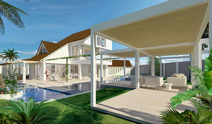 Casa sabanilla : Piscinas de estilo  por 3DStudio.w