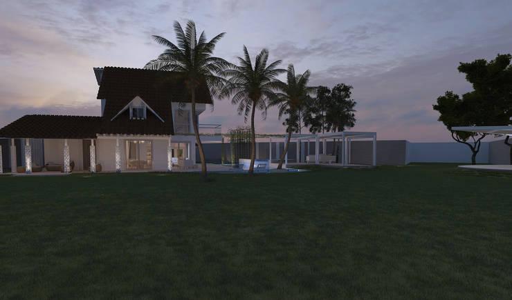 Casa sabanilla : Balcones y terrazas de estilo  por 3DStudio.w