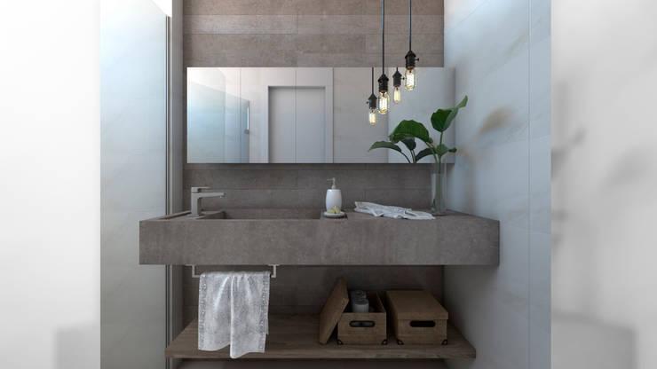i47 | Interior de um apartamento: Banheiros  por Estúdio 2 : 1,Mediterrâneo