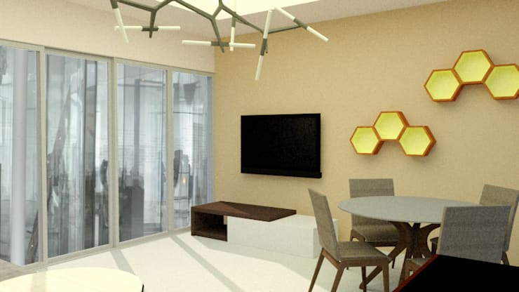 Contemporary Informal Living and Dining Area :   by Patricia De Jesus