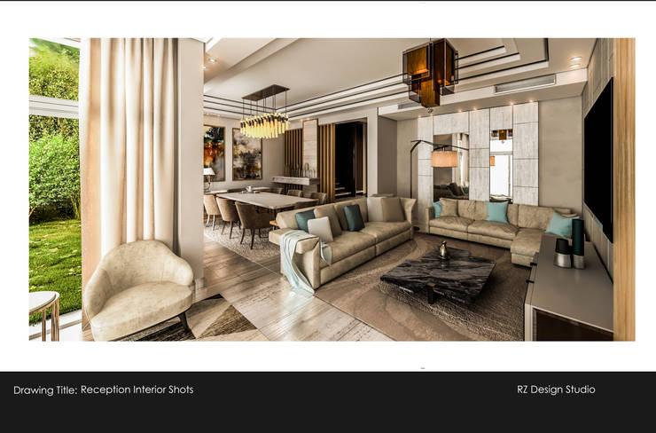Private residence – Palm Hills Golf:  غرفة المعيشة تنفيذ Reham Ezzeldin Design Studio, تبسيطي