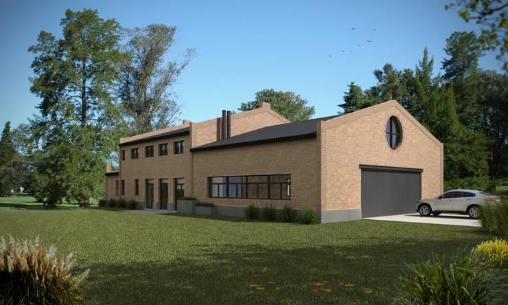 Vista frente y lateral: Casas de estilo  por Fainzilber Arqts.,