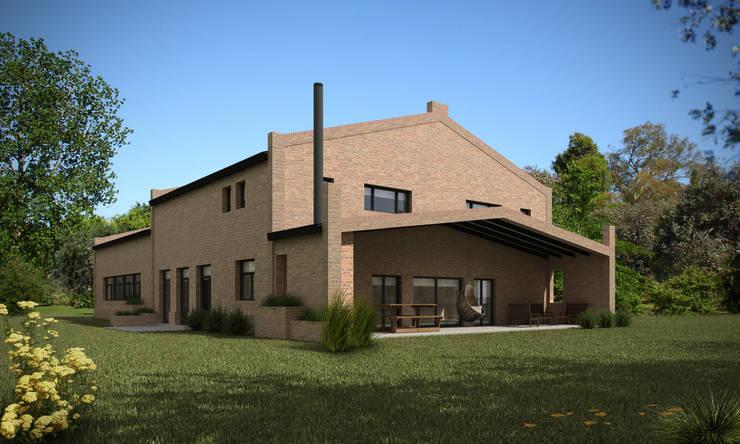 Vista lateral y contra frente: Casas de estilo  por Fainzilber Arqts.,