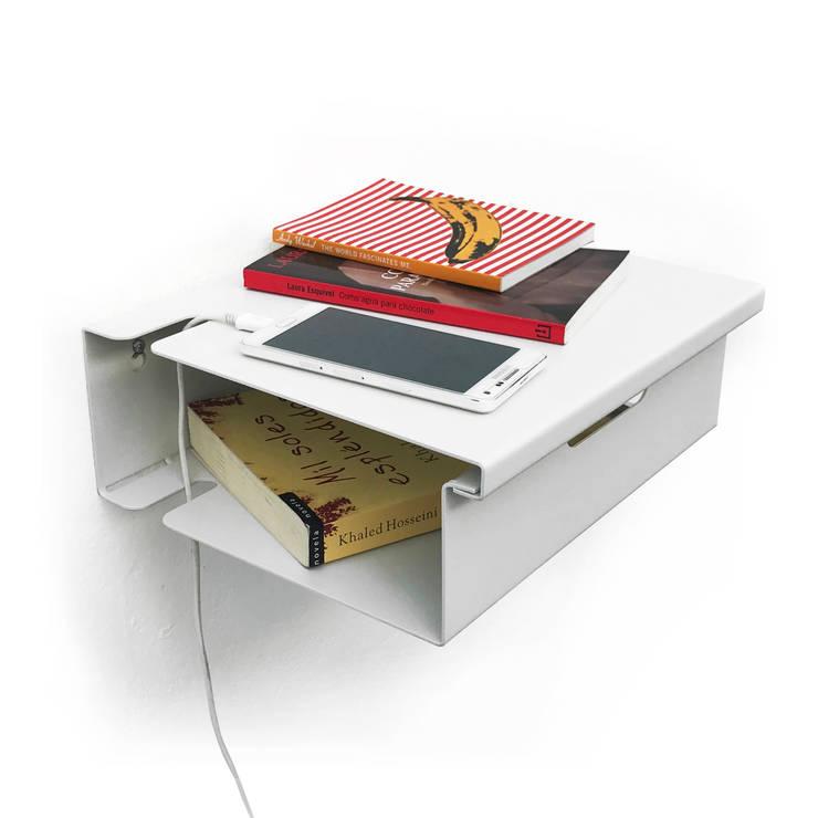 Mesa de luz flotante de diseño Muett Blanca: Dormitorios de estilo  por Muett SRL,