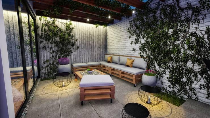 Terraza de una vivienda: Terrazas de estilo  por Minkarq. Arquitectura y construcción,